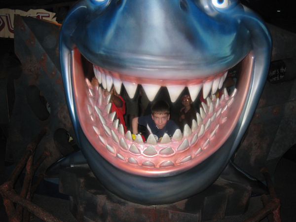 Nicholas in the mouth of a shark